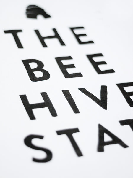 The Beehive State Letterpress Art Print | Sycamore Street Press