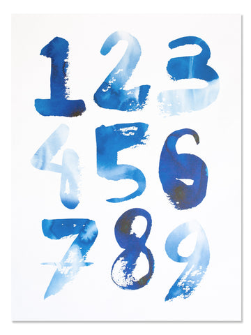 Indigo Numbers Art Print