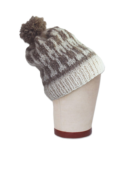 Icelandic Geometry Beanie in Taupe/White