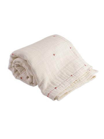 Organic Mille Feuille Throw Blanket (Cherry Red)