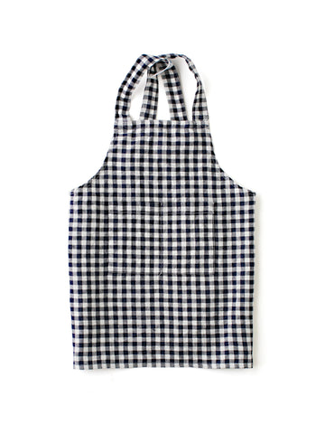 Linen Kid Apron: Navy/White