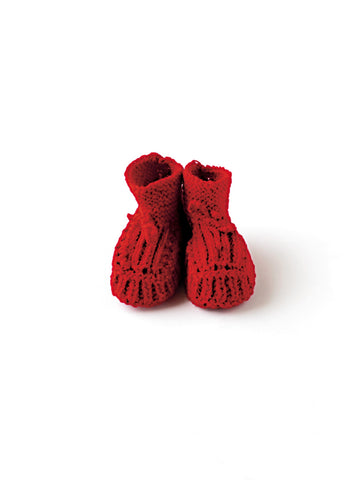 Knitted Baby Shoes: Red Wool