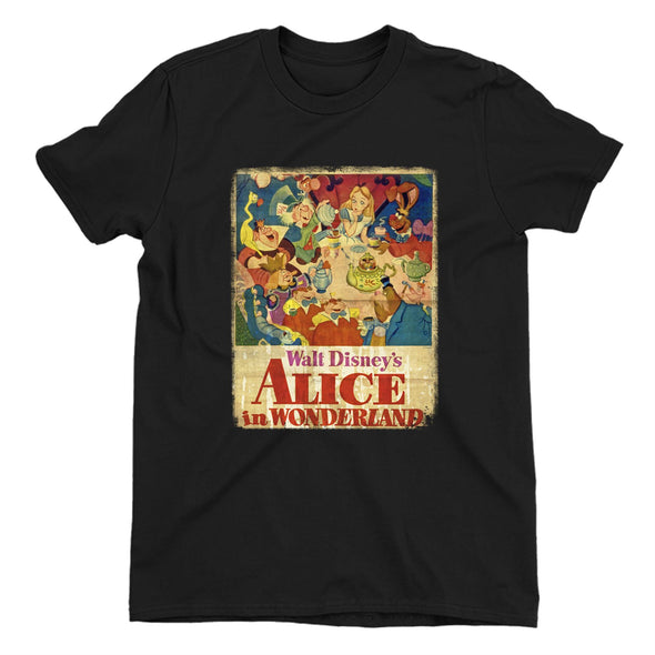 Alice In Wonderland Vintage Poster Ladies Black T-Shirt