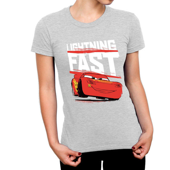 Disney Pixar Cars Lightning Fast Ladies Grey T-Shirt