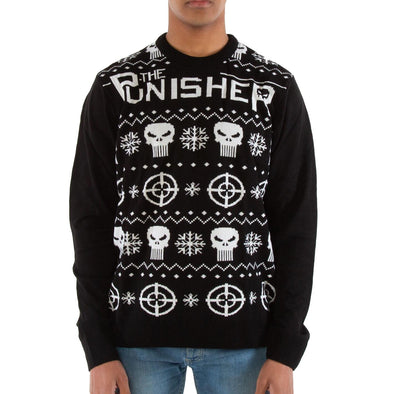 London Co. Marvel Punisher Black Unisex Christmas Knitted Jumper