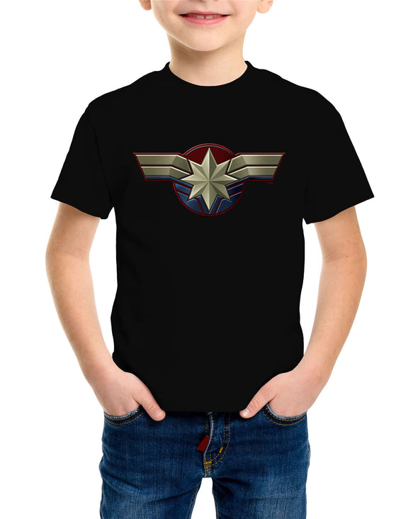 Captain Marvel Emblem Children's Unisex Black T-Shirt