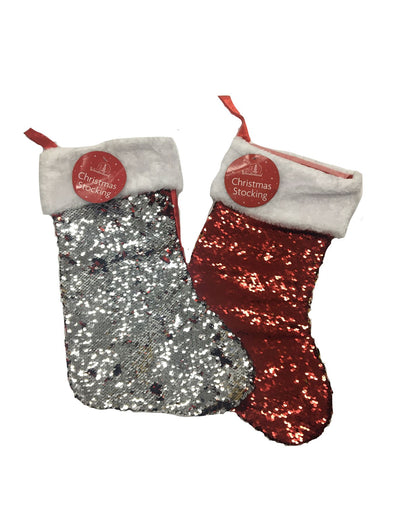 Reversable Sequin Christmas Stocking Red / Silver