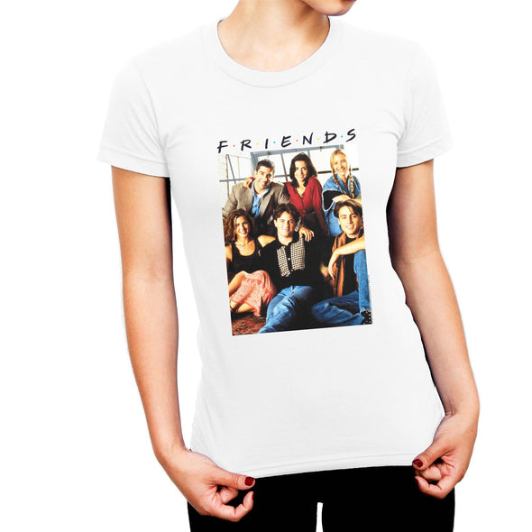 Friends Group Photo Ladies White T-Shirt
