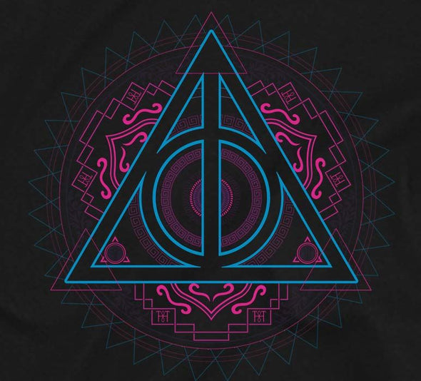 Harry Potter Deathly Hallows Neon Symbol Men's Black T-Shirt