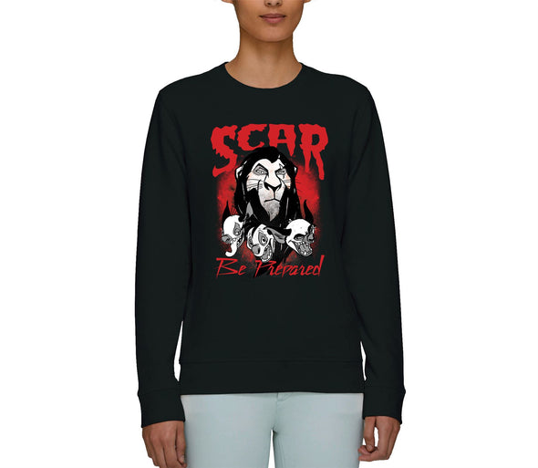 The Lion King Scar Be Prepared Adults Unisex Black Sweatshirt