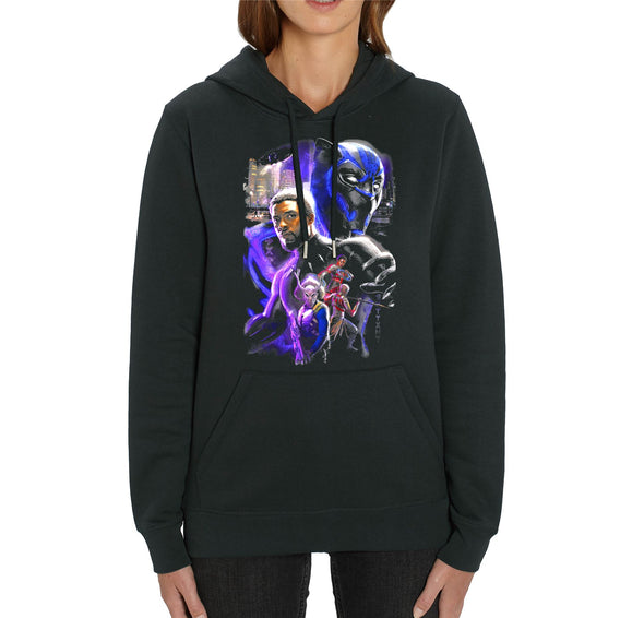 Marvel Studios Black Panther Character Montage Adults Unisex Black Hoodie