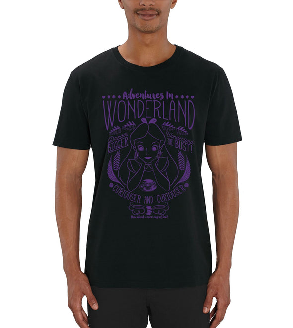 Alice In Wonderland Adventures In Wonderland Men's Black T-Shirt