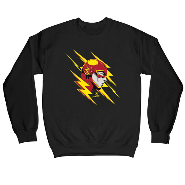 The Flash Lightning Portrait Outline Children's Unisex Black Sweatshirt
