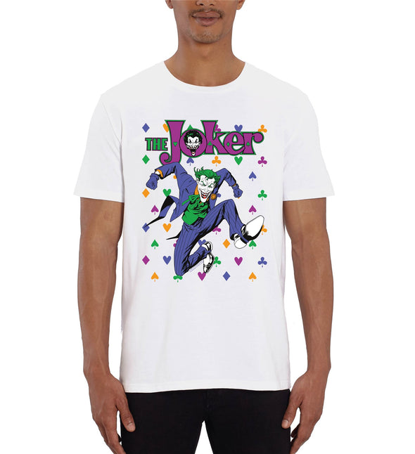 DC Comics The Joker Playing Cards Icons Men's White T-Shirt