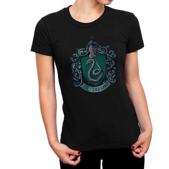 Harry Potter Distressed Slytherin Crest Ladies Black T-Shirt
