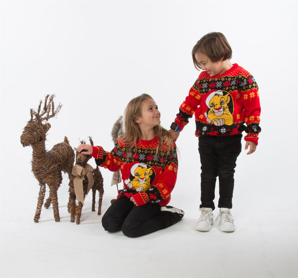 The Lion King Simba Children's Red Knitted Christmas Jumper