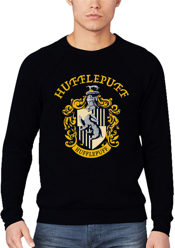 Harry Potter Hufflepuff Logo & Crest Adults Unisex Black Sweatshirt