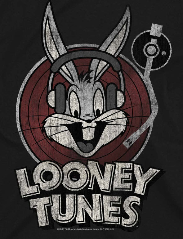 Looney Tunes Bugs Bunny Circle Ladies Black T-Shirt