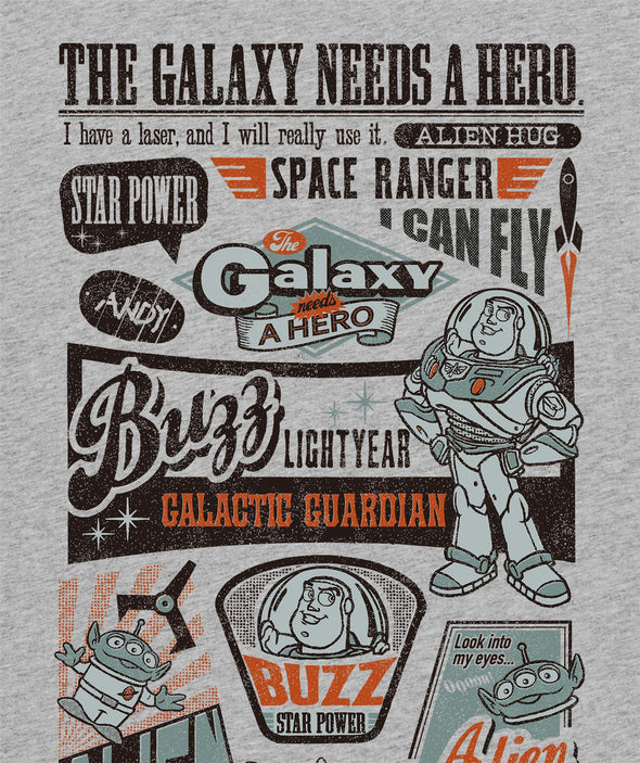 Toy Story Buzz Lightyear The Galaxy Needs A Hero Children's Unisex Grey T-Shirt