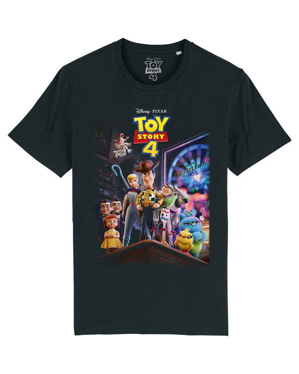 Disney Toy Story 4 Classic Movie Poster Ladies Black T-Shirt