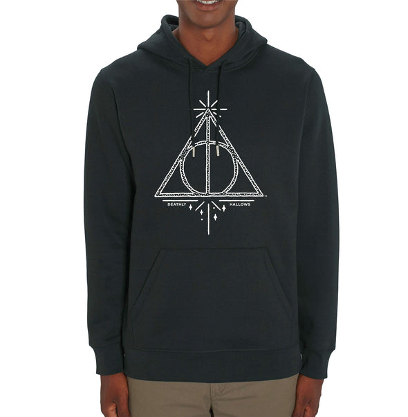Harry Potter Deathly Hallows Magic Print Adults Unisex Black Hoodie