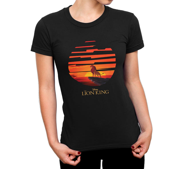 The Lion King Mufasa Sunset Ladies Black T-Shirt