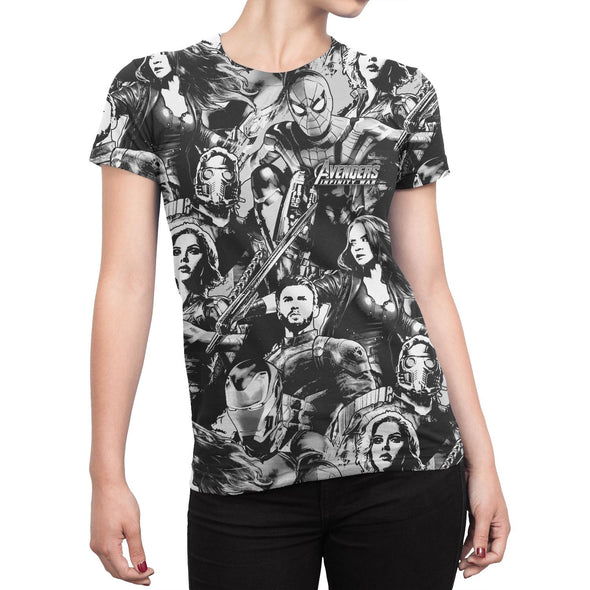 Avengers Infinity War Cast Characters Ladies T-Shirt