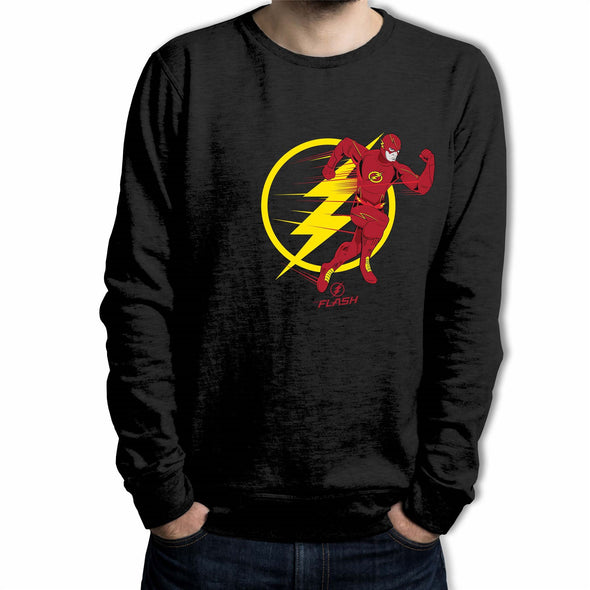 The Flash Running Emblem Outline Adults Unisex Black Sweatshirt