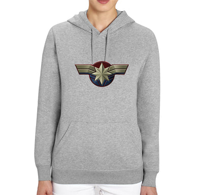Captain Marvel Emblem Adults Unisex Grey Hoodie