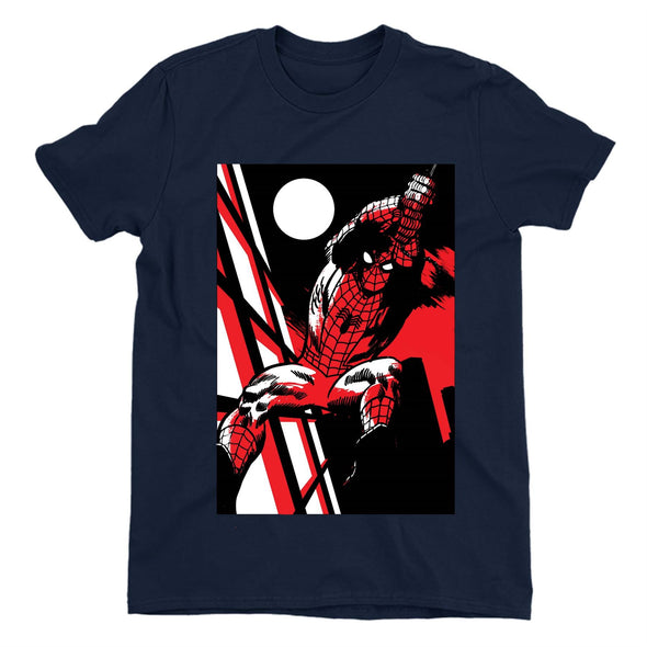 Spiderman Moonlight Swing Ladies Navy T-Shirt