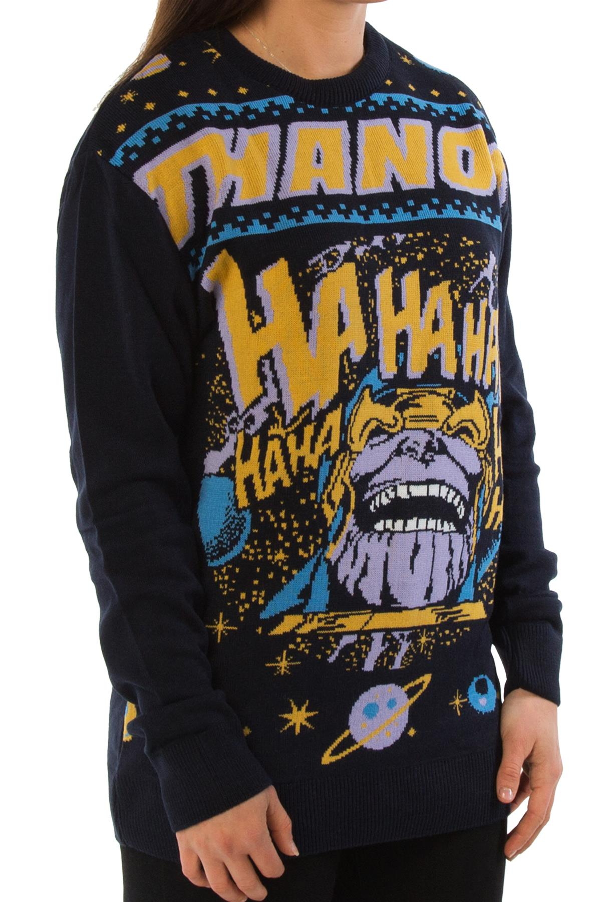 Marvel Comics Thanos Navy Unisex Christmas Knitted Jumper London Co