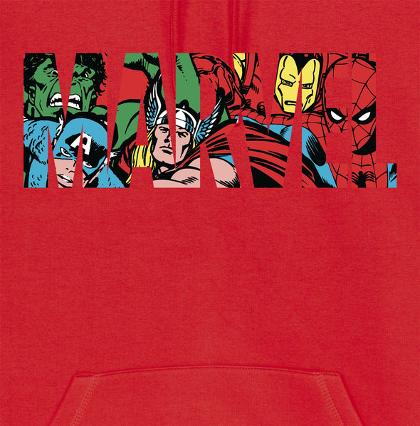 Marvel Comics Classic Logo Adults Unisex Red Hoodie