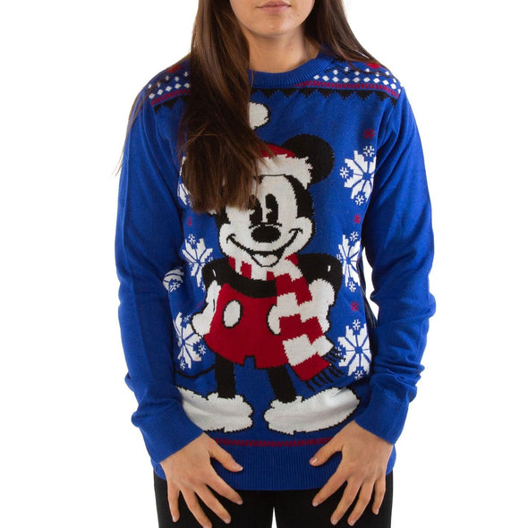 London Co. Mickey Mouse Blue Unisex Christmas Knitted Jumper