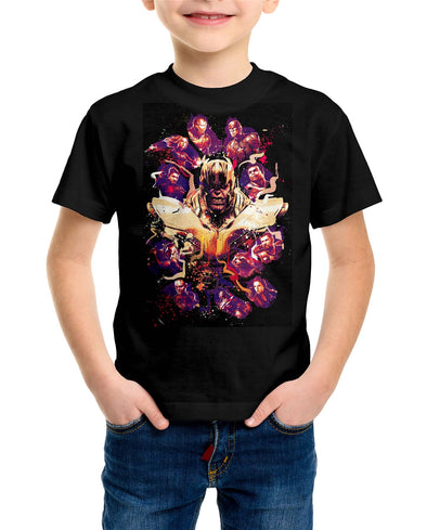 Avengers End Game Thanos Splatter Children's Unisex Black T-Shirt