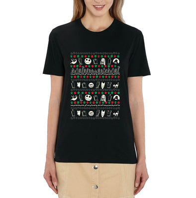 Nightmare Before Christmas Festive Icon Print Ladies Black T-Shirt