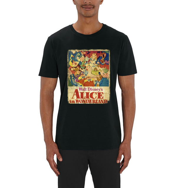 Alice In Wonderland Vintage Poster Men's Black T-Shirt