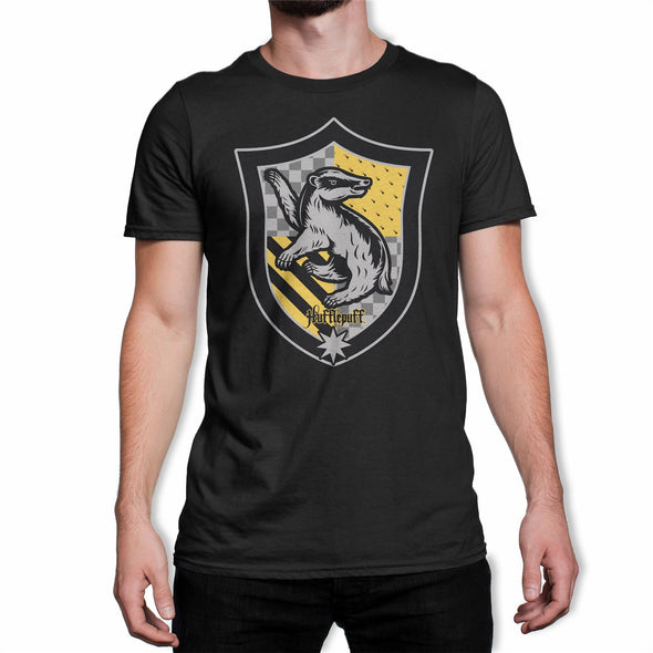 Harry Potter Hufflepuff Crest Black Men's T-Shirt