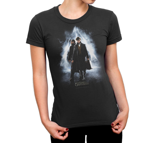 Fantastic Beasts Newt & Dumbledore Ladies Black T-Shirt