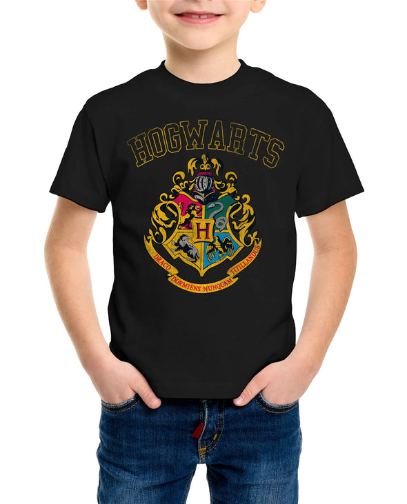 Harry Potter Hogwarts Varsity House Crest & Logo Children's Unisex Black T-Shirt