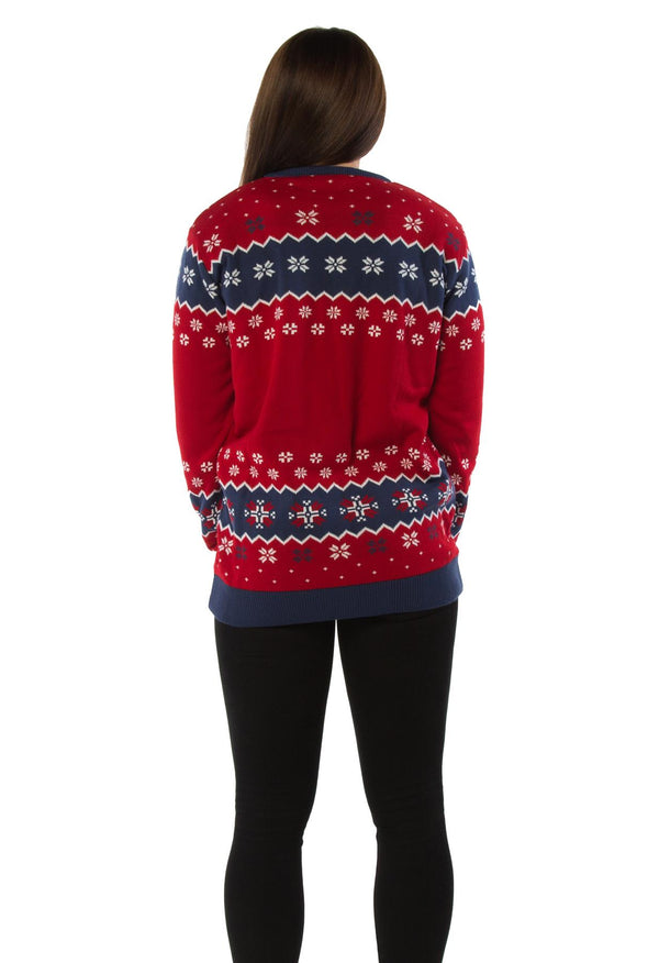 Official Taz Mania Naughty Not Nice Red Knitted Christmas Jumper