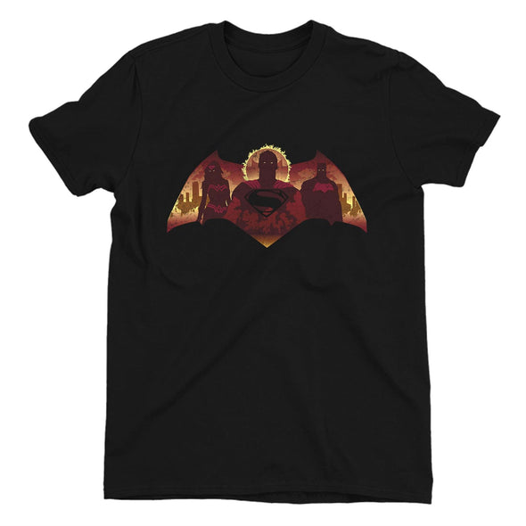 Batman VS. Superman City Flames Ladies Black T-Shirt