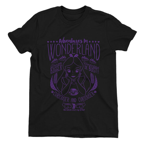 Alice In Wonderland Adventures In Wonderland Ladies Black T-Shirt
