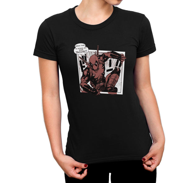 Deadpool Tacos Ladies Black T-Shirt