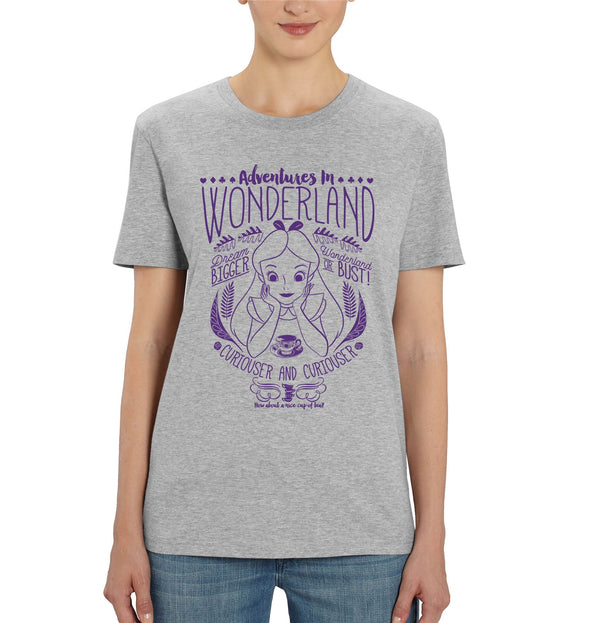 Alice In Wonderland Adventures In Wonderland Ladies Grey T-Shirt