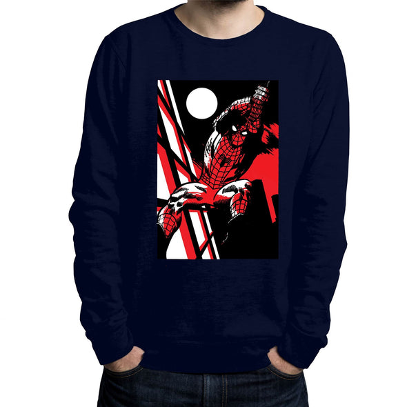 Spiderman Moonlight Swing Adults Unisex Navy Sweatshirt