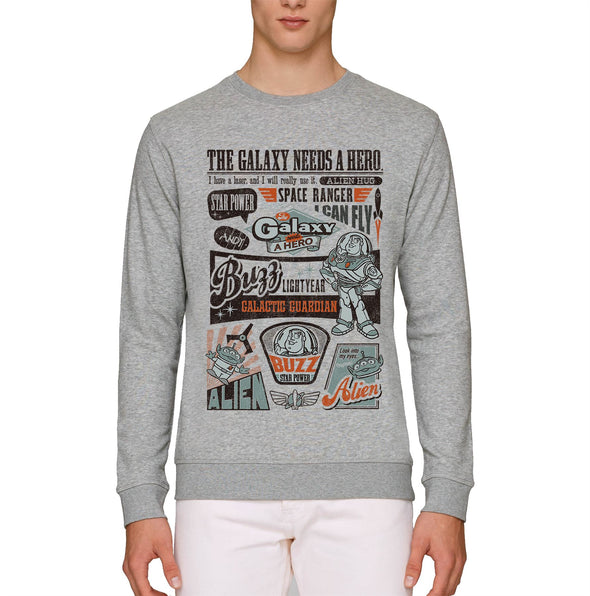 Toy Story Buzz Lightyear The Galaxy Needs A Hero Adults Unisex Grey Sweatshirt