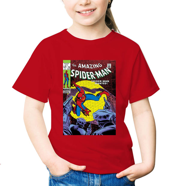 Spiderman Wanted Comic Book Cover Children's Unisex Red T-Shirt
