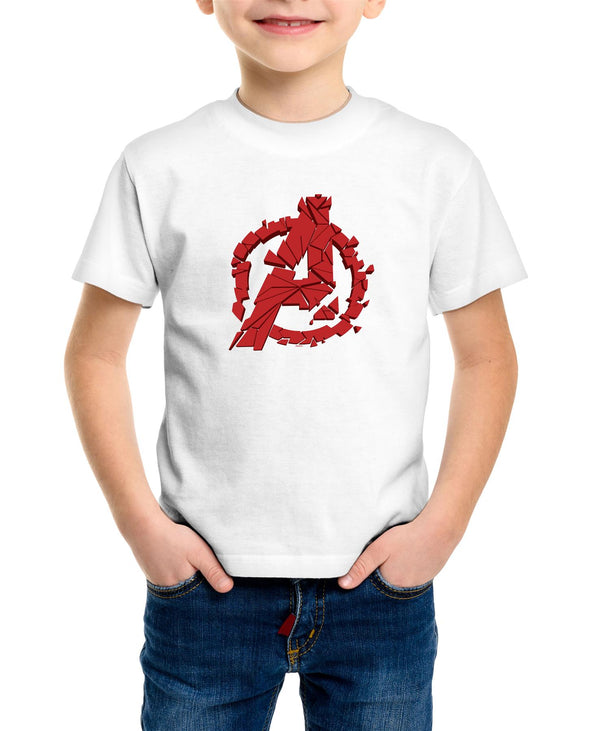 Avengers Endgame Shuttered Logo Children's Unisex White T-Shirt