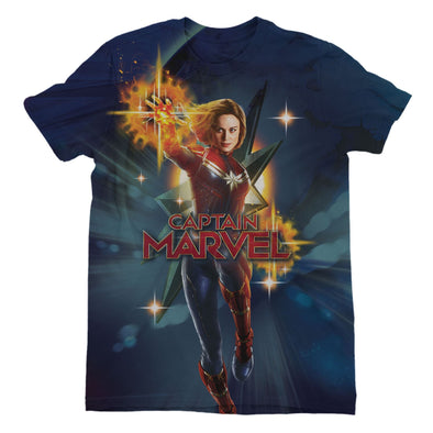 Captain Marvel Walking Galactic Shine Men's Navy T-Shirt