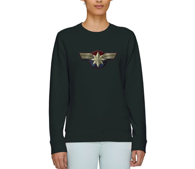 Captain Marvel Emblem Adults Unisex Black Sweatshirt